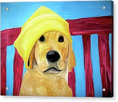 Acrylic Print featuring the painting Colorful Lab by Rebecca Wood