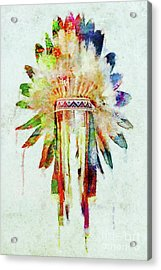 Colorful Lakota Sioux Headdress Acrylic Print