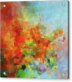 Acrylic Print featuring the painting Colorful Landscape Art In Abstract Style by Ayse Deniz