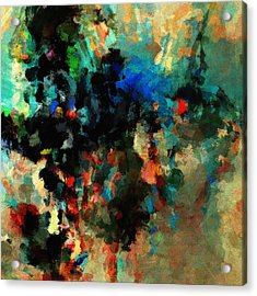 Acrylic Print featuring the painting Colorful Landscape / Cityscape Abstract Painting by Ayse Deniz