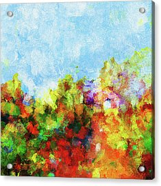 Acrylic Print featuring the painting Colorful Landscape Painting In Abstract Style by Ayse Deniz