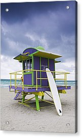 Colorful Lifeguard Station And Surfboard Acrylic Print by Jeremy Woodhouse