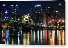 Colorful Lights On The Allegheny Acrylic Print