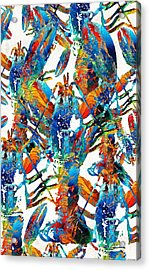 Colorful Lobster Collage Art - Sharon Cummings Acrylic Print