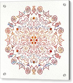 Colorful Mandala On Watercolor Paper Acrylic Print
