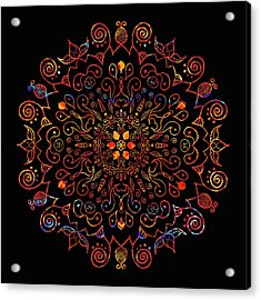 Colorful Mandala With Black Acrylic Print