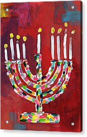Colorful Menorah- Art By Linda Woods Acrylic Print by Linda Woods