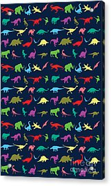 Colorful Mini Dinosaur Acrylic Print by Naviblue