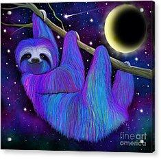 Colorful Moonlight Sloth Acrylic Print