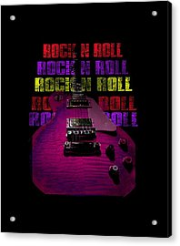 Acrylic Print featuring the photograph Colorful Music Rock N Roll Guitar Retro Distressed T-shirt by Guitar Wacky