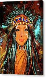 Colorful Native American Woman Acrylic Print