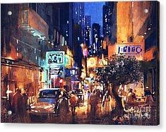 Colorful Night Street Acrylic Print