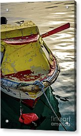Colorful Old Red And Yellow Boat During Golden Hour In Croatia Acrylic Print