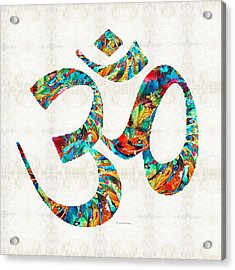Colorful Om Symbol - Sharon Cummings Acrylic Print by Sharon Cummings