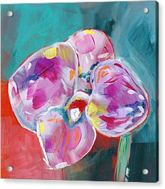 Colorful Orchid- Art By Linda Woods Acrylic Print by Linda Woods