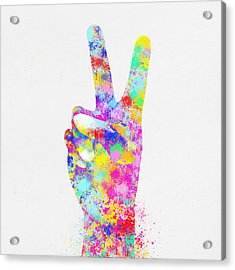 Colorful Painting Of Hand Point Two Finger Acrylic Print by Setsiri Silapasuwanchai
