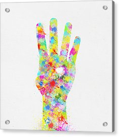 Colorful Painting Of Hand Pointing Four Finger Acrylic Print by Setsiri Silapasuwanchai