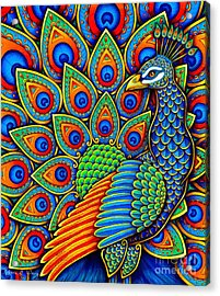 Colorful Paisley Peacock Acrylic Print