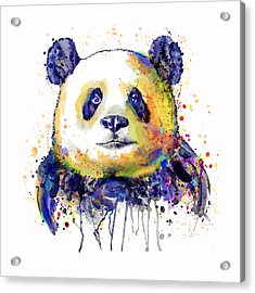 Acrylic Print featuring the mixed media Colorful Panda Head by Marian Voicu
