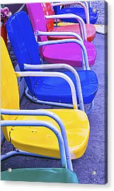Colorful Patio Chairs Acrylic Print by Garry Gay
