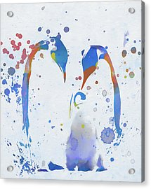 Acrylic Print featuring the painting Colorful Penguin Family by Dan Sproul