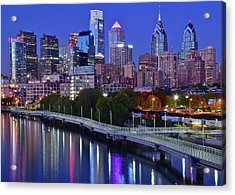 Acrylic Print featuring the photograph Colorful Philly Night Lights by Frozen in Time Fine Art Photography