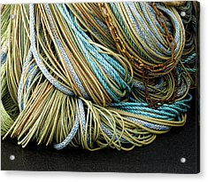 Colorful Pile Of Fishing Nets And Ropes Acrylic Print by Carol Leigh