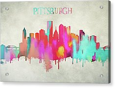 Colorful Pittsburgh Skyline Silhouette Acrylic Print by Dan Sproul