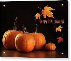 Colorful Pumpkins On Wood Table On Dark  Acrylic Print