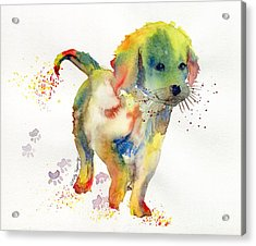 Colorful Puppy Watercolor - Little Friend Acrylic Print by Melly Terpening