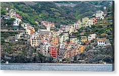 Acrylic Print featuring the photograph  Colorful Riomaggiore Village At Cinque Terre, Italy by Michalakis Ppalis