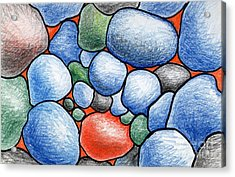 Colorful Rock Abstract Acrylic Print by Nancy Mueller