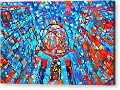 Acrylic Print featuring the painting Colorful Rockefeller Center Atlas by Dan Sproul
