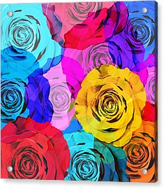 Colorful Roses Design Acrylic Print
