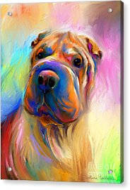 Colorful Shar Pei Dog Portrait Painting  Acrylic Print