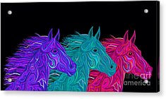 Acrylic Print featuring the drawing Colorful Stallions  by Nick Gustafson