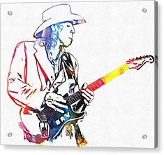Colorful Stevie Ray Vaughan Acrylic Print by Dan Sproul