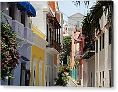 Colorful Streets Of Old San Juan Acrylic Print by George Oze