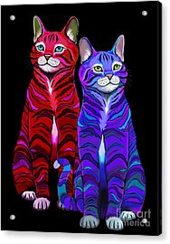 Colorful Striped Cats Acrylic Print
