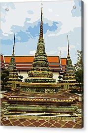 Colorful Stupas At Wat Pho Acrylic Print