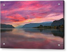 Colorful Sunrise At Columbia River Gorge Acrylic Print by David Gn