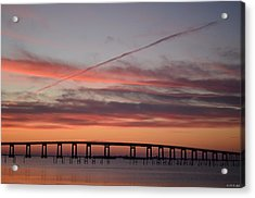 Colorful Sunrise Over Navarre Beach Bridge Acrylic Print by Jeff at JSJ Photography