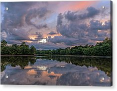 Acrylic Print featuring the photograph Colorful Sunset At The Lake by Lori Coleman