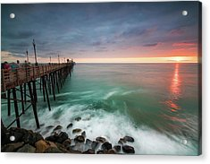 Colorful Sunset At The Oceanside Pier Acrylic Print