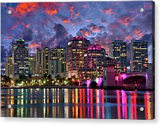 Colorful Sunset Over Downtown West Palm Beach Florida Acrylic Print