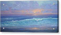 Cape Cod Colorful Sunset Seascape Beach Painting With Wave Acrylic Print