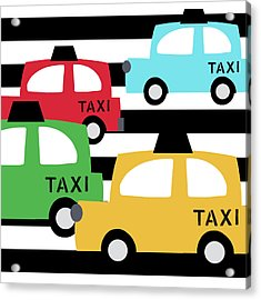 Colorful Taxis- Art By Linda Woods Acrylic Print