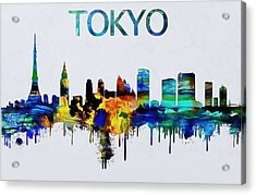 Colorful Tokyo Skyline Silhouette Acrylic Print by Dan Sproul
