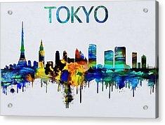 Colorful Tokyo Skyline Silhouette Acrylic Print