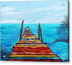 Colorful Tropical Pier Acrylic Print